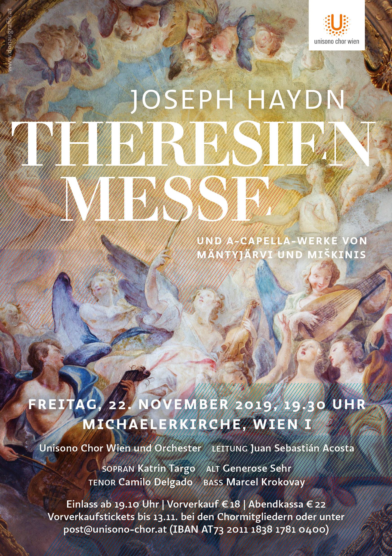 Konzert mit dem Unisono Chor Wien: Theresienmesse von Joseph Haydn, 22. Nov. 2019 19:30 Uhr in der Michaelerkirche, 1010 Wien